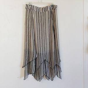 Chico's Women's Skirt Midi Lines & Dots Sm NWT